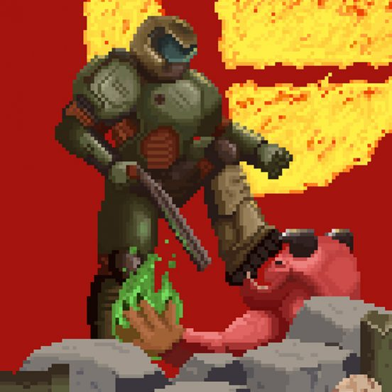 pixel art, doom, freelance illustrator, power unlimited